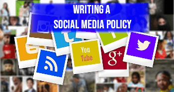 image of social media icons with banner stating writing a social media policy