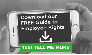 Image of smartphone with words Download our free guide to employee rights and button with words Yes! Tell me more